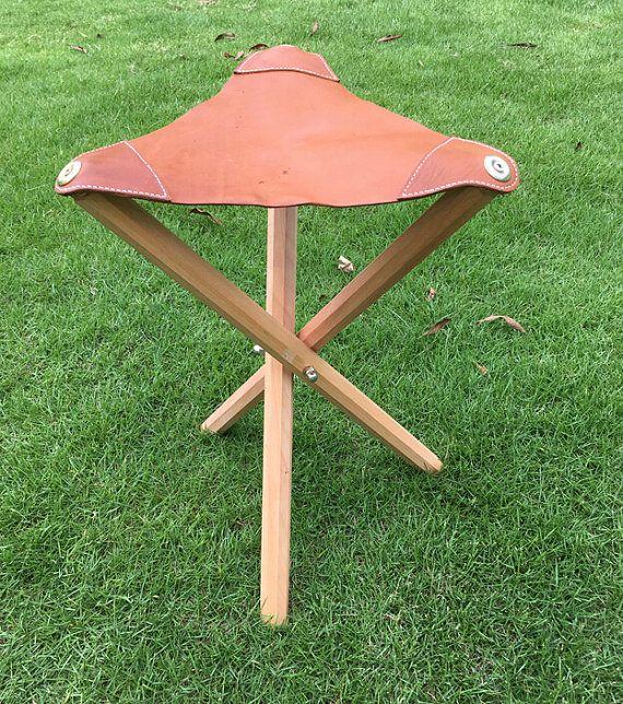 Three Leg Wood Artist Folding Stool Leather Seat Camping