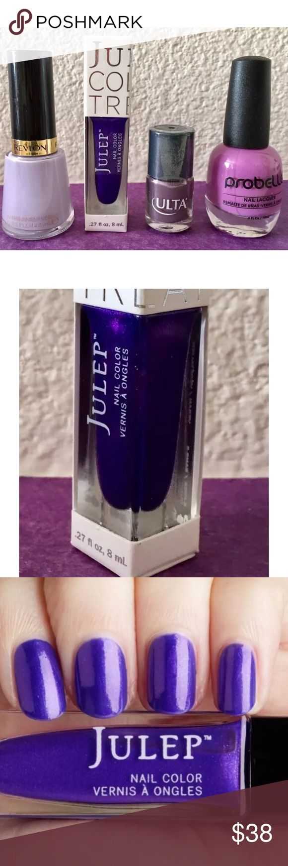 Pretty Purples Nail Polish Bundle 4 pretty purple nail polishes from various popular brands. Brand new, unused, unopened. Smoke-free, clean home.  • Full-size Julep Nail Color in Madelynn - It Girl: Imperial purple shimmer (8mL/.27 fl.oz.) • Full-size Probelle Nail Lacquer in In or Out: A bright, creamy purple (15mL/.5 fl.oz.) • Full-size Revlon Nail Enamel in Charming: A soft, pastel lilac purple (14.7mL/.5 fl.oz.) • Travel-size ULTA Nail Polish in Aubergine Queen: A cool eggplant gray…