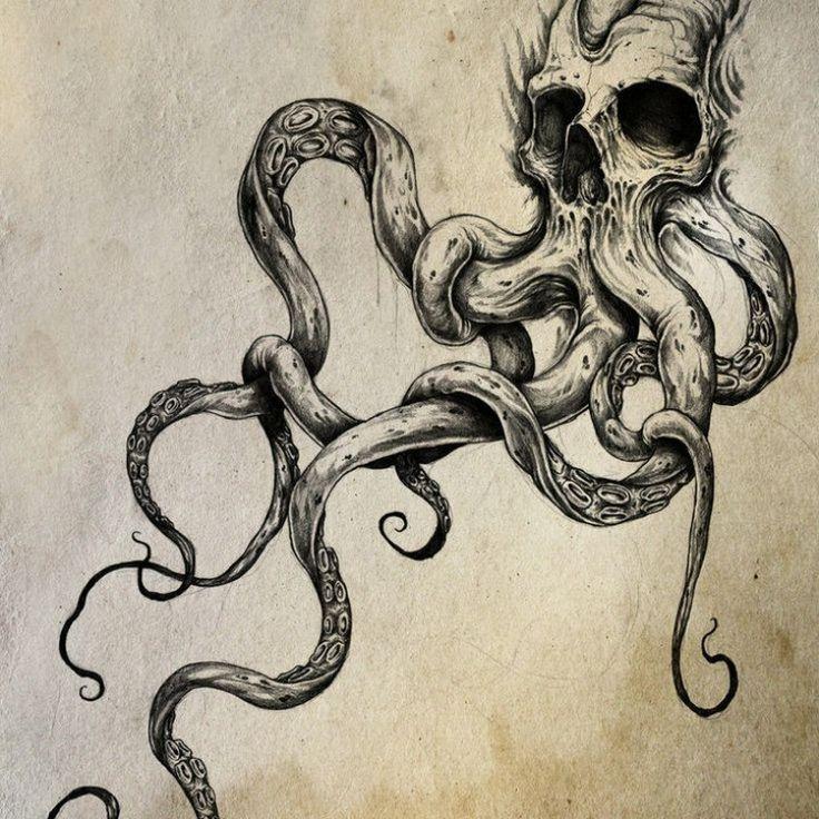 Modèle Tatouage Pieuvre Skull Tc5r214