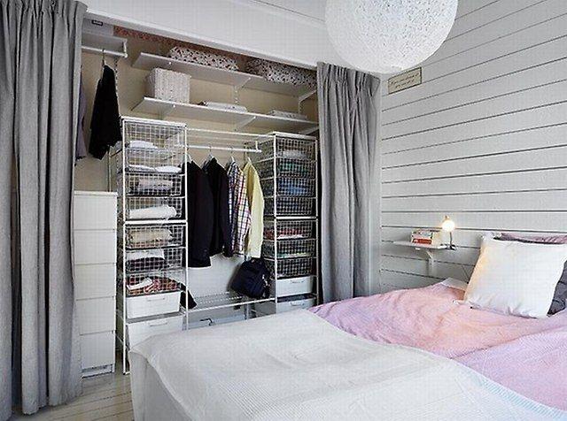 Grey Curtain To Hide Wardrobe Around The House