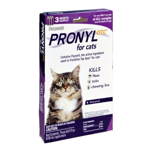 Sergeant's Pronyl Otc for Cats Kills Fleas, Ticks, and Chewing Lice- 3 CT - http://www.bunnybits.org/sergeants-pronyl-otc-for-cats-kills-fleas-ticks-and-chewing-lice-3-ct/
