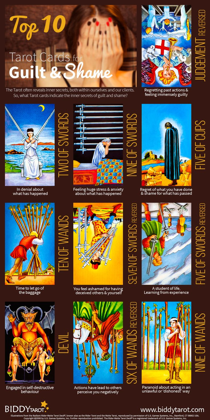 Tarot And More 3 Tarot Symbolism: Divination: #Tarot Top 10 Guilt & Shame Cards. When These