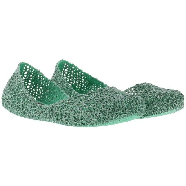 Campana Papel Vii Ballets (225 BRL) ❤ liked on Polyvore featuring shoes, flats, green, womenshoesflat shoes, melissa shoes, green ballerina flats, green ballet flats, green ballet shoes and melissa footwear