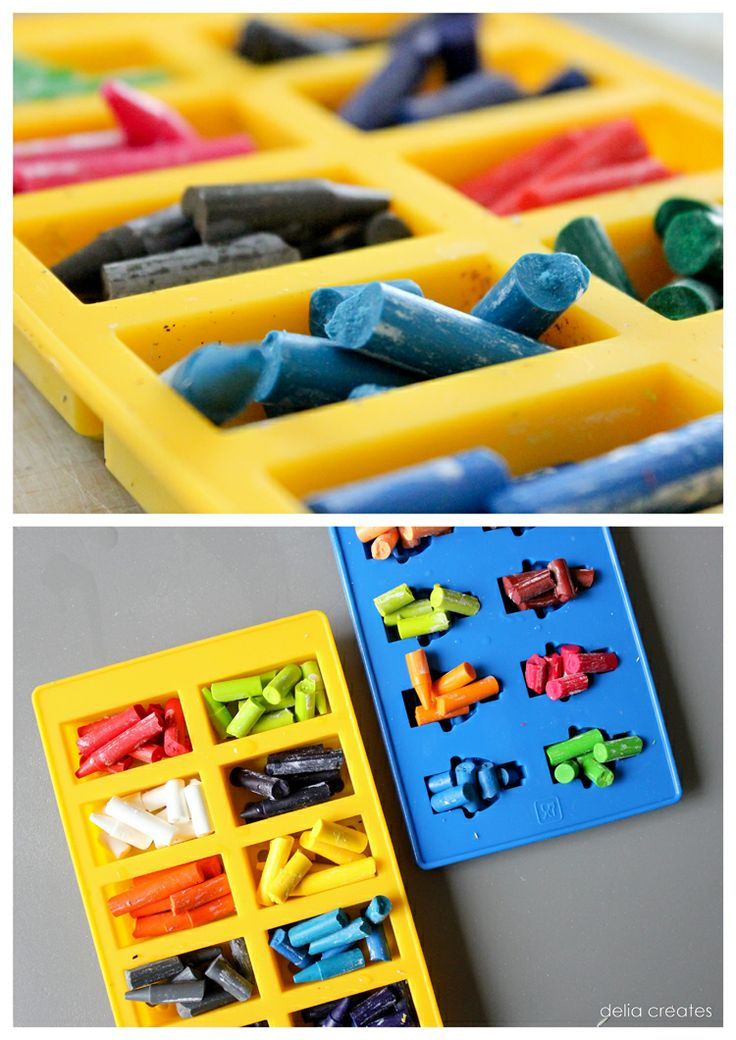 soak the crayons, take the paper off, break the crayons into bits and bake them at 250 degrees for about 15 minutes
