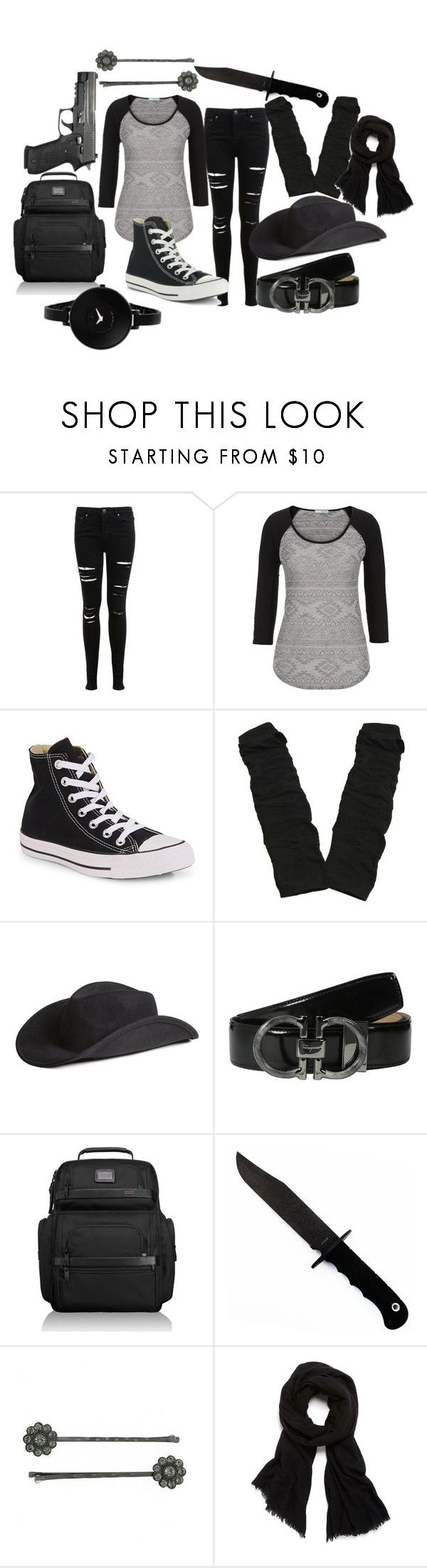 """""""Evan Rhee *The Walking Dead Fanfiction*"""" by lauren-mossgotheridge ❤ liked on Polyvore featuring Miss Selfridge, maurices, Converse, H&M, Salvatore Ferragamo, Tumi, 1928, Helmut Lang and Movado"""