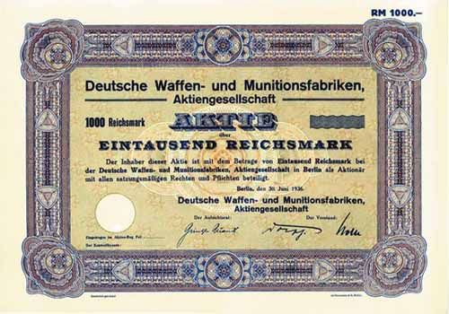 Deutsche Waffen- und Munitionsfabriken Aktien-Gesellschaft (German Weapons and Munitions public limited company), known as DWM, was an arms company in Imperial Germany created in 1896 when Ludwig Loewe & Company united its weapons and ammunition production facilities within one company. In 1896 Loewe founded Deutsche Waffen- und Munitionsfabriken with a munitions plant in Karlsruhe (Baden), formerly Deutsche Metallpatronenfabrik Lorenz, and the weapons plant in Berlin.