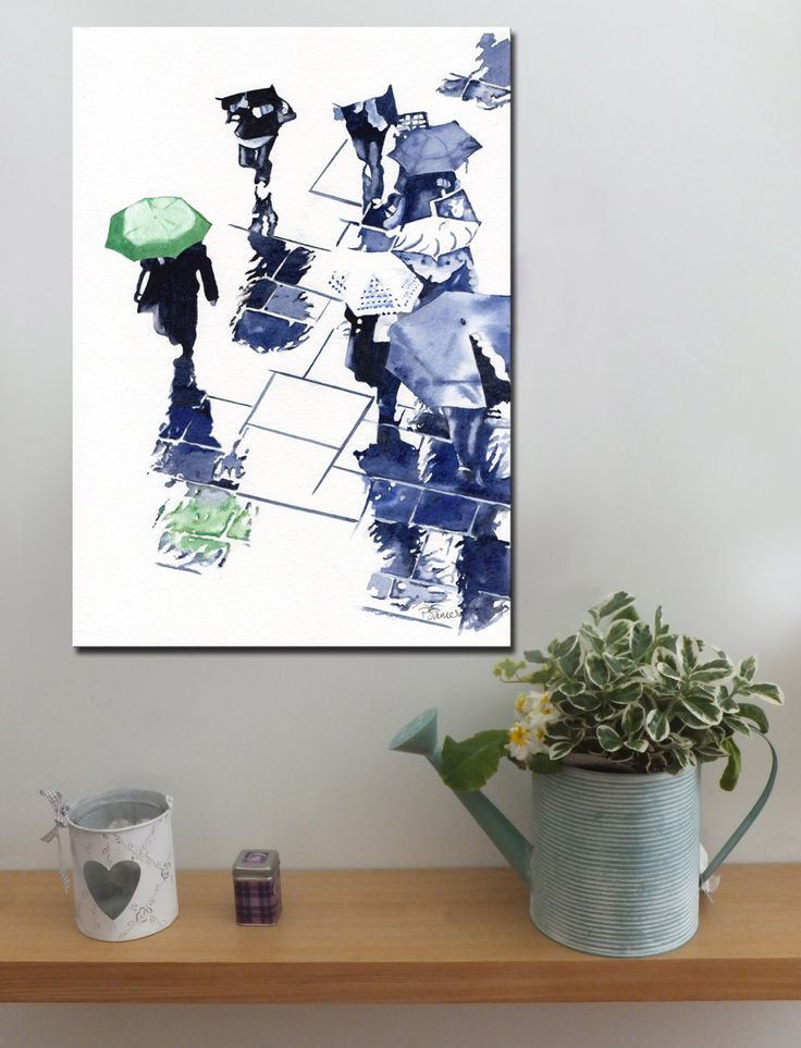 BROLLIES GREEN http://www.splashyartystory.com/shop/art-prints/green-brolly-and-reflections-art-print-of-painting/