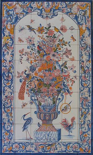 Tiles , Jar , XVIII Century, by Azulejos de Azeitão #Azeitão #tiles. Hand made #art from #Portugal to all the world. #Historic and #tradition more on www.portugaldreamcoast.com