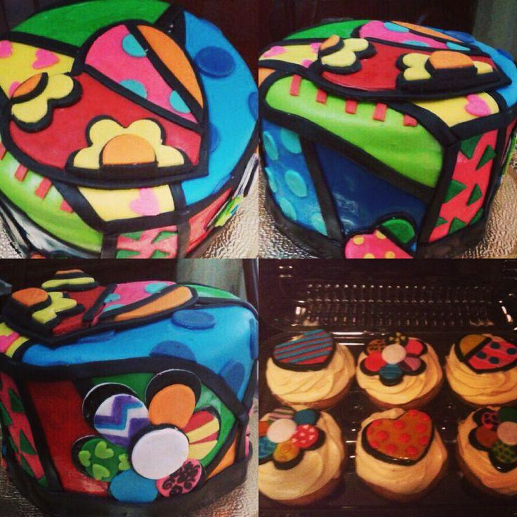 Britto cake and cupcakes #fondant #britto