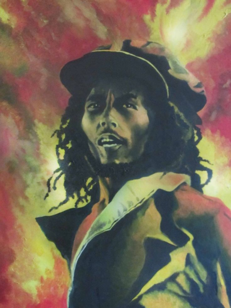 Oil painting illustrating the passion and fire of The Rastaman from Jamaica.