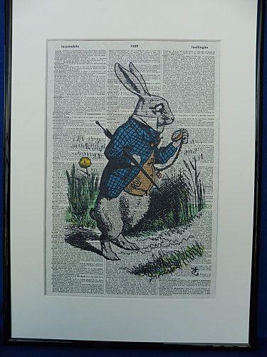 Alice in Wonderland Rabbit With Watch Wall Art by DecorisDesigns