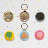 Buttons, keychains and magnets