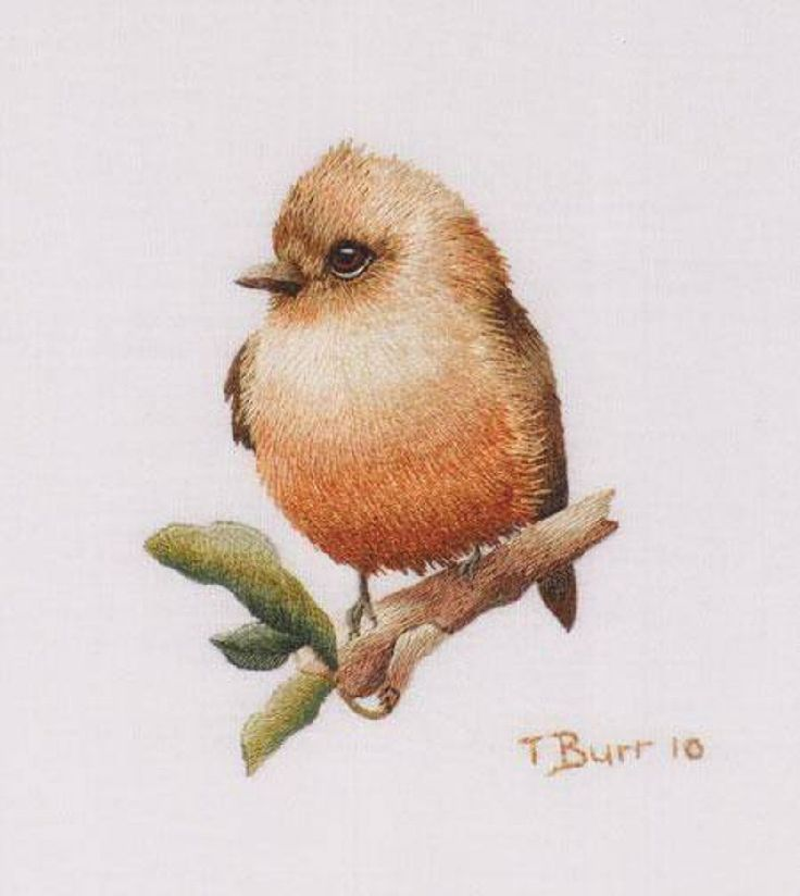 I ❤ embroidered birds . . . I really love the color of this little bird. ~By Trish Burr