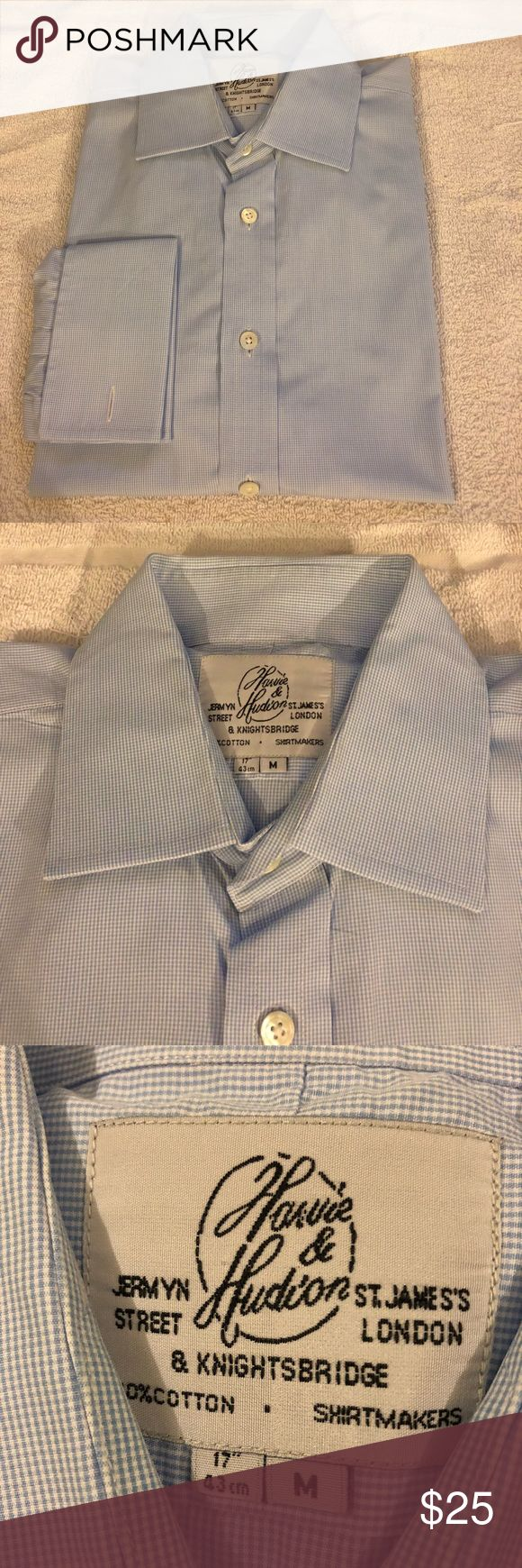 Harvie & Hudson Blue Check French Cuff Shirt 17 Harvie & Hudson Light Blue and White Gingham Check French Cuff Dress Shirt size 17 32/33! Like new!  Please make reasonable offers and bundle! Ask questions :) Harvie & Hudson Shirts Dress Shirts