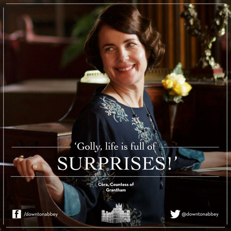 2/23/14 12:12a ''Downton Abbey'' Lady Cora Crawley reacting to the news  that Aunt Rosamund and  Lady Edith will travel to Switzerland.  She is Dumfounded. Surprised. Clueless to what is actually going on. facebook.com