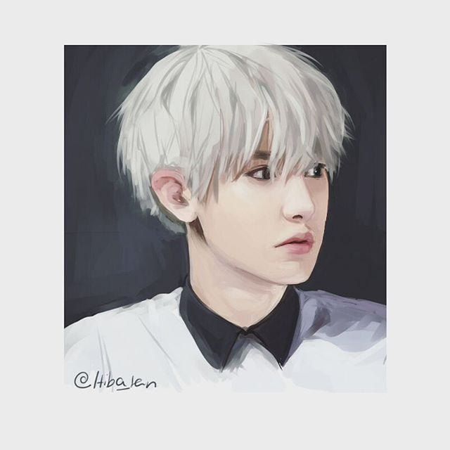 Quick messy coloring of an old sketch #Chanyeol #exo #drawing #hiba_portraits @dalal_chan_ colored this sketch a while ago too but accidentally made him look like Baekhyun instead lol