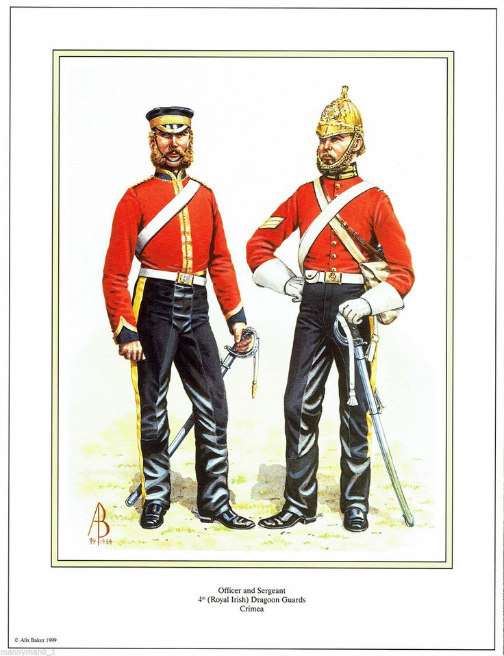 British signed Military Print 4th Royal Irish Dragoon Guards Crimea  