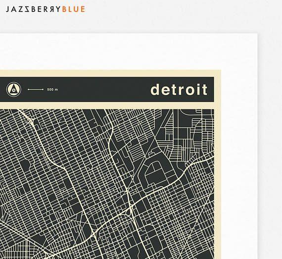 DETROIT MAP Fine Art print by Jazzberry Blue