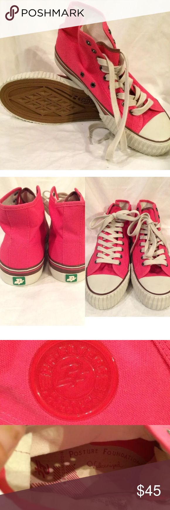 ⭐️NEW ITEM⭐️NEW PF Flyers 9.5 NEW WITHOUT BOX PF FLYERS PINK AND WHITE HIGHTOP CANVAS SNEAKERS WOMEN'S SIZE 9.5 OR MENS 8 SOLD OUT ONLINE!!! pf flyers Shoes Sneakers