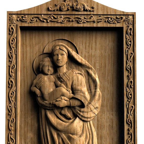 Wood carving religious wall art The Sistine Madonna Wood gift Gift for her 5th Anniversary gift Mother's gift Birthday gift