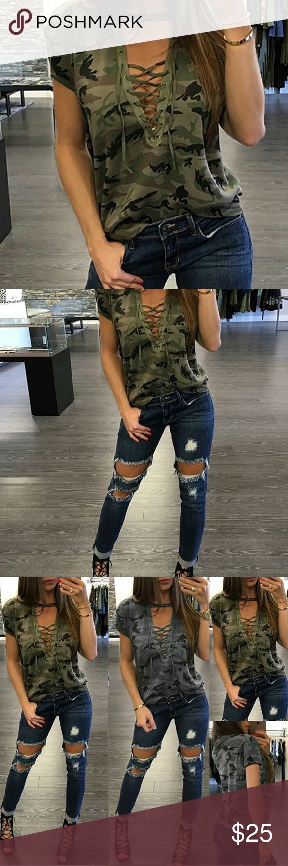 Lace up Choker Camouflage Top Brand new Tops Tees - Short Sleeve