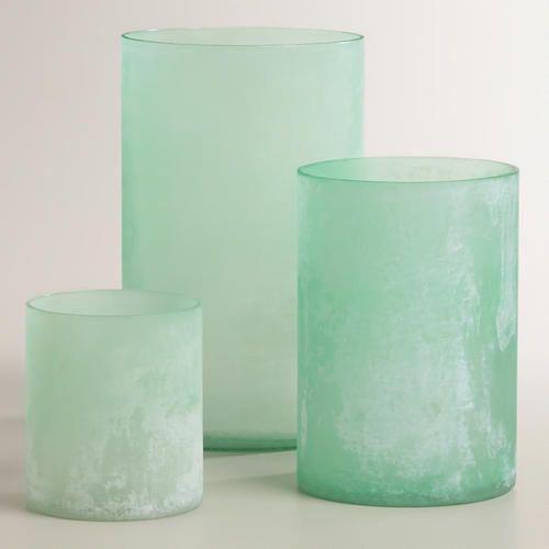 at WorldMarket.com: Blue Seaglass Hurricane Candleholders ... for our seaglass wedding - table decor