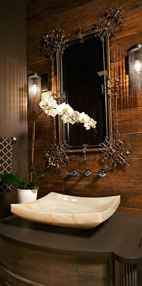 Beautiful bathroom bathrooms pinterest sinks mirror - Powder room sink ideas ...
