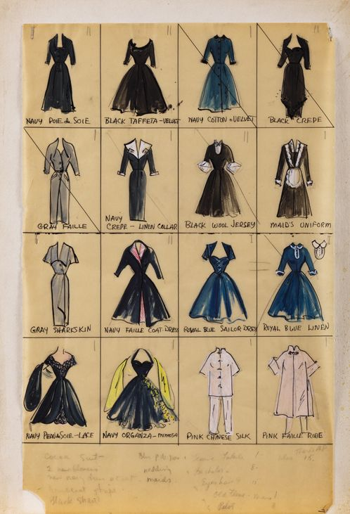 """Elois Jenssen thumbnail costume sketches for Lucille Ball as """"Lucy"""", in I Love Lucy. (Desilu, 1951 - 1957) Original Elois Jenssen thumbnail costume sketches for Lucille Ball as """"Lucy"""" in I Love Lucy. The sketch is accomplished in gouache on 12 x 19 in. artist parchment leaf tipped to a 14 x 20 in. backing board. Sketch features (16) thumbnail sketches of character and glamour costumes."""