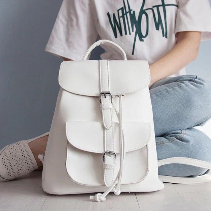 <b>2018 New</b> Fashion <b>PU</b> Leather Women Backpack School Bag For ...