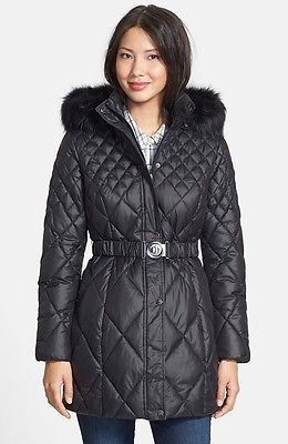 GUESS-Coat-Hooded-Fur-Trim-Quilted-Puffer-Belted-Jacket-Black-2017-OBO