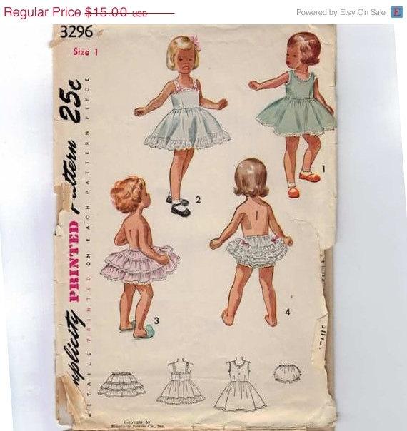 1950s Vintage Girls Sewing Pattern Simplicity 3296 Toddler Underwear Slip Ruffled Petticoat Bloomers Size 1 Breast 20. $13.50, via Etsy.