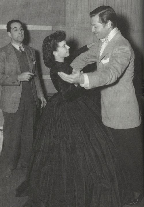 Clark Gable and Vivien Leigh rehearsing the dance number for Gone With The Wind and performing for the film (1939)