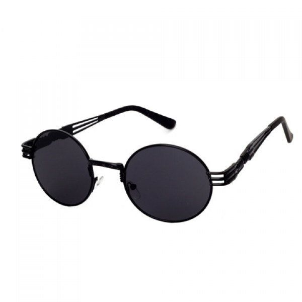 Chic Hollow Out Leg and Round Frame Design Black Sunglasses For Women