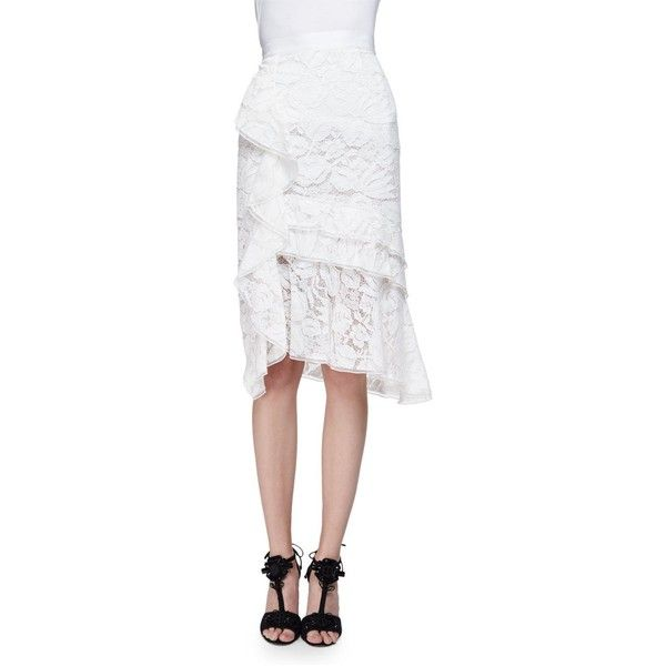 Oscar De La Renta Tiered-Lace Pencil Skirt W/Ruffle ($2,590) ❤ liked on Polyvore featuring skirts, ivory multi, knee length pencil skirt, white pencil skirt, ivory lace skirt, lace pencil skirt and floral pencil skirt