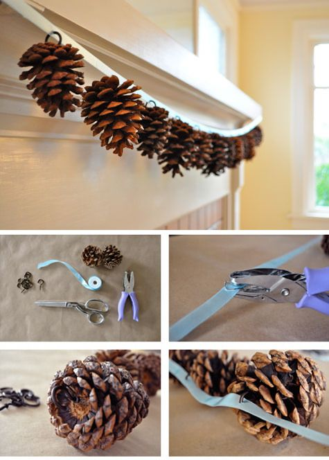 Pinecone garland cute with snowflakes