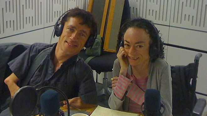 Using chopsticks with your toes Mat Fraser and Liz Carr in the studio