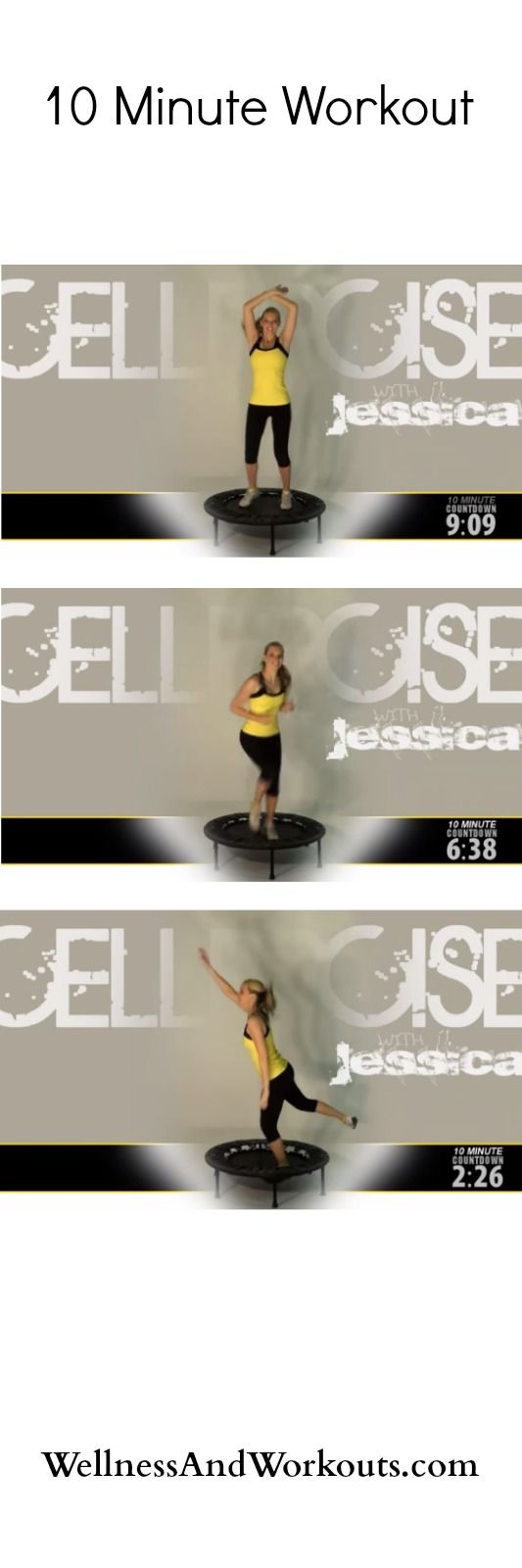 Feeling tired? Rev up your day with this quick, 10 minute workout! Rebounder workouts increase lymphatic flow, energize, and exercise every cell and muscle in your body. And that's just for starters! This workout is an excellent choice when you don't have a lot of time. If you have a rebounder and 10 minutes, you can try it now, F*R*E*E, streaming. Click the pin now, to get started!