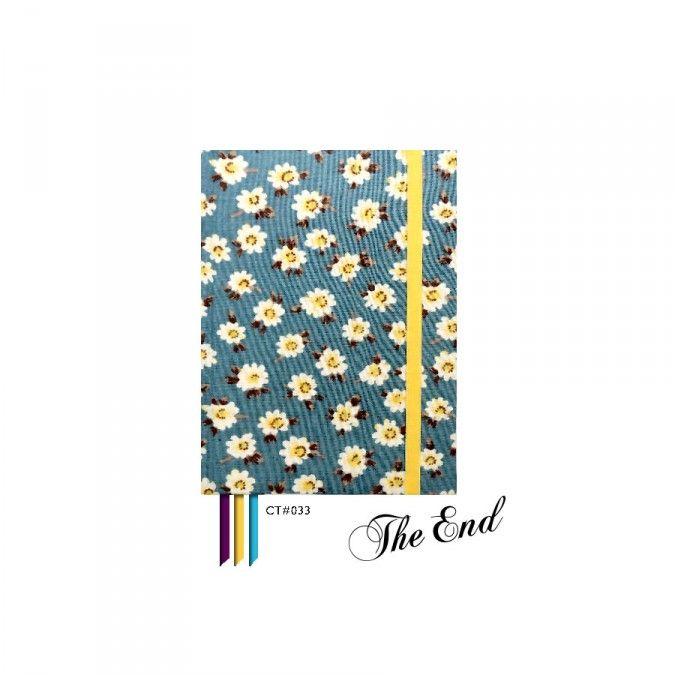 Cuaderno CT#033. Tamaño: 12 X 15 cm. Tapa dura forrada con tela estampada. 100 hojas lisas Bookcell de 80 gr. 3 Cintas señaladoras en combinación. Elástico sujetador a tono.