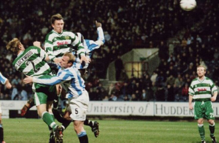 Huddersfield 3 Yeovil Town 1 in March 2004 at the McAlpine Stadium. Kirk Jackson hits the bar with this header for Yeovil #Div3