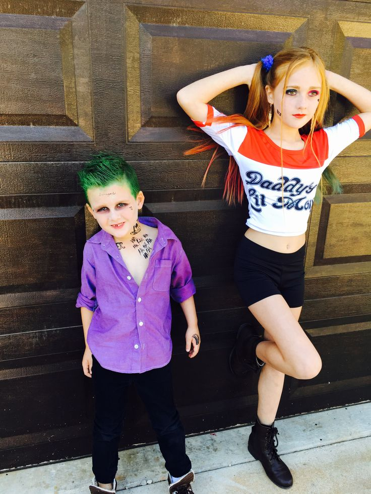 suicide squad kids halloween costume joker and harley quinn bought a white shirt for my some - Joker Halloween Costume Kids