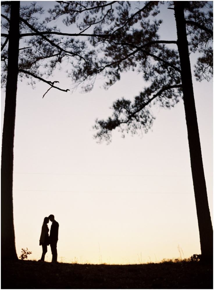 Couple Photo Idea ~ great outdoor silhouette with tall, humbling trees