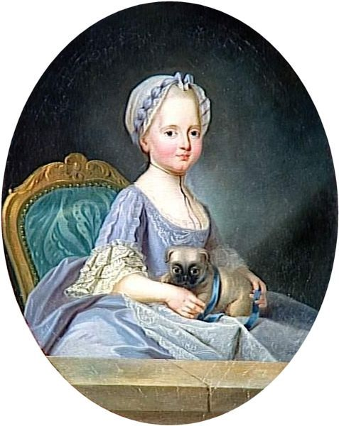 Joseph Ducreux, Madame Élisabeth (1768), sister of Louis XVI as girl.  She accompanied her brother and his family during, and suffered the same fate of all except her niece, Marie-Therese.