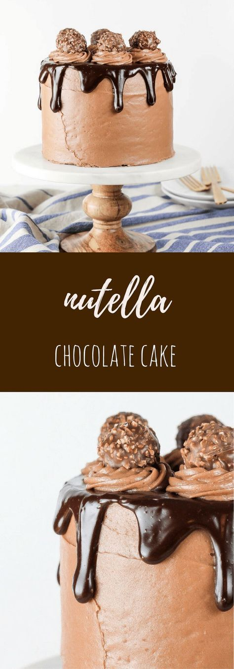 Nutella Chocolate Cake with Nutella Cream Cheese Frosting #cake #cakerecipes #chocolatecake #nutellacake