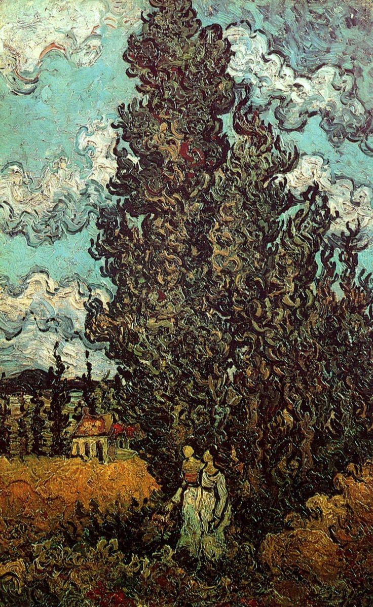 Cypresses and Two Women - Vincent Van Gogh, 1890 at Saint Remy de Provence