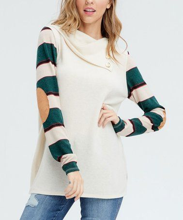 65046b90f Loving this Green Stripe-Contrast Elbow-Patch Buttoned Shawl-Collar ...
