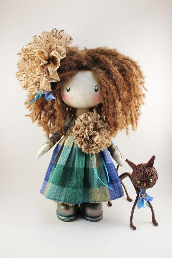 Doll  Lili  brown textile doll cloth doll by DollsLittleAngels