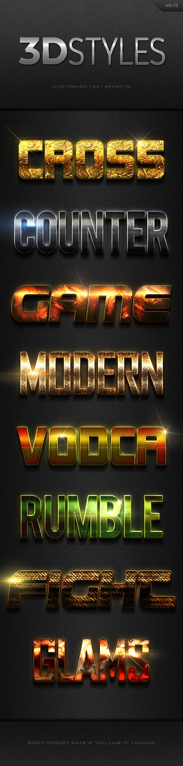 3D Photoshop Text Effects Vol.15 by adzacom  3D Photoshop Text Effects Vol.15With high quality and premium effects can produce the effect of a more perfect and interesting to