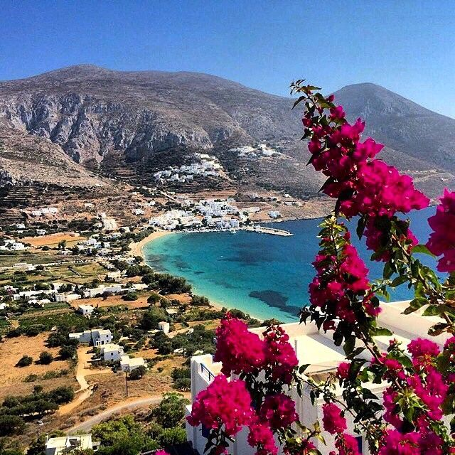 Magical view at Amorgos island (Αμοργός) ❤️. Colorful flowers and crystal blue sea .
