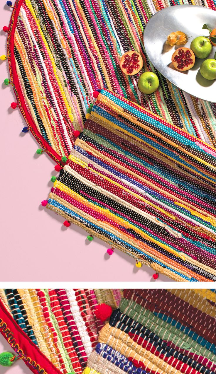 Bright Colourful Pom Pom Rag Rugs Hand Made In India For Namaste Fair Trade And Funky Add A Blast Of Colour Weaving Patterns Crochet Home Weaving