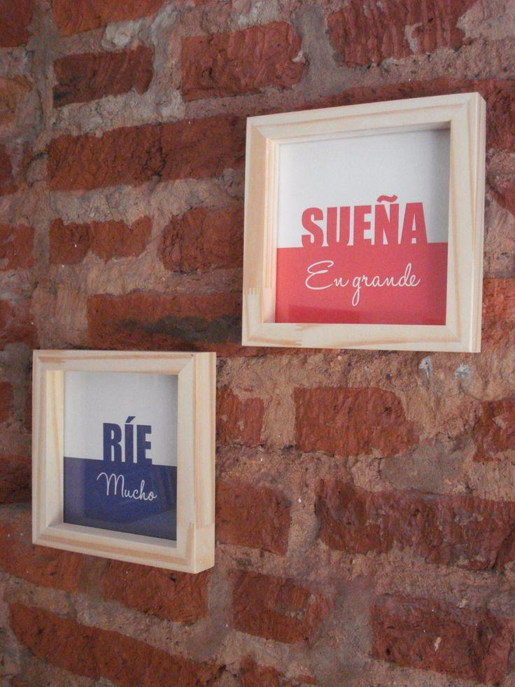 Cuadros Con Frases Diseño - Marco Madera - $ 110,00 en MercadoLibre